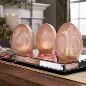 "6"" Illuminated Ribbed Mercury Glass Eggs"